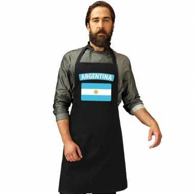 Argentinie vlag barbecuekeukenschort/ keukenschort zwart volwassenen