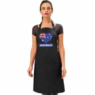 Australie hart vlag barbecuekeukenschort/ keukenschort zwart