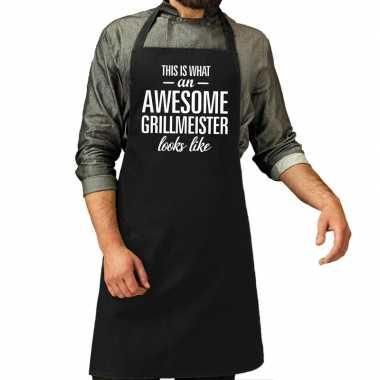 Awesome grillmeister cadeau bbq keukenschort zwart heren
