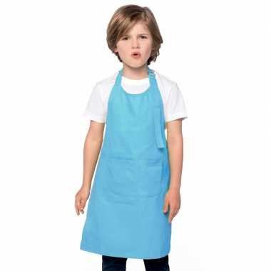 Basic kinderkeukenschort aqua blauw