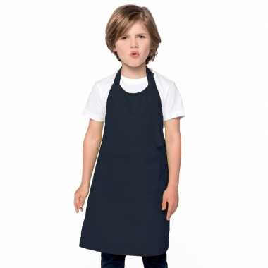 Basic kinderkeukenschort donkerblauw