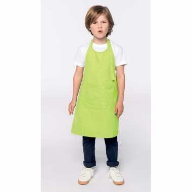 Basic kinderkeukenschort lime groen