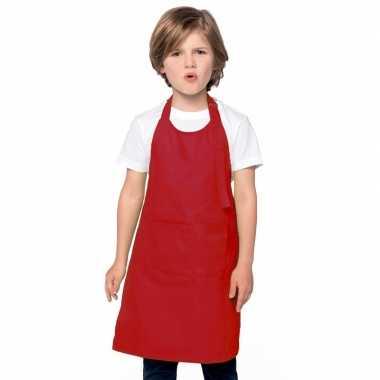 Basic kinderkeukenschort rood