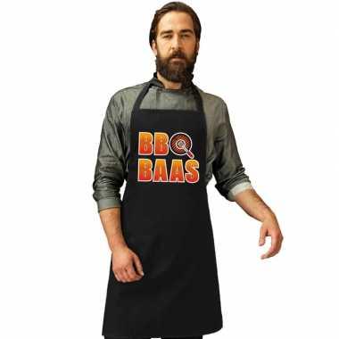 Bbq baas barbecuekeukenschort/ keukenschort zwart heren