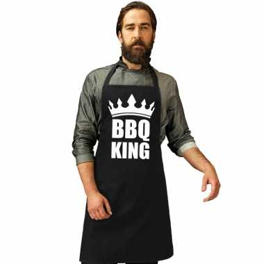 Bbq king barbecuekeukenschort/ keukenschort zwart heren