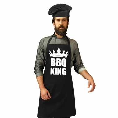 Bbq king barbecuekeukenschort zwart heren zwarte koksmuts