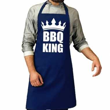 Bbq king barbeque keukenschort / keukenschort kobalt blauw heren