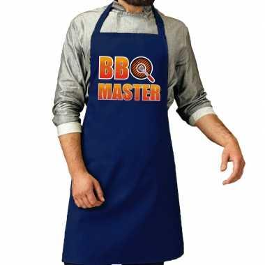 Bbq master barbeque keukenschort /keukenschort kobalt blauw heren
