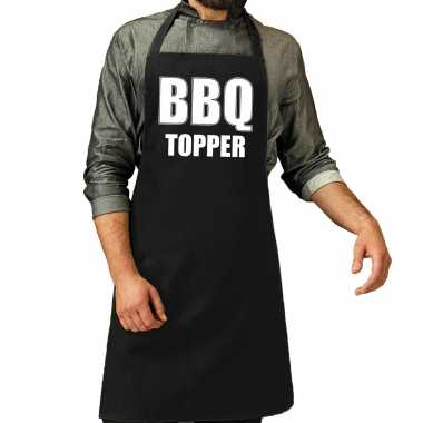 Bbq topper barbecuekeukenschort heren zwart