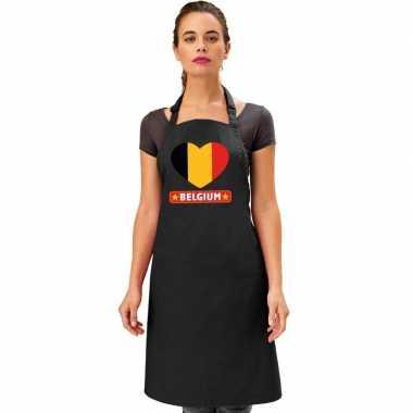 Belgie hart vlag barbecuekeukenschort/ keukenschort zwart volwassenen
