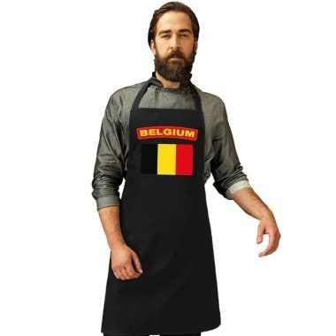 Belgie vlag barbecuekeukenschort/ keukenschort zwart volwassenen