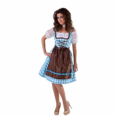 Blauwe dirndl jurk bruin keukenschort