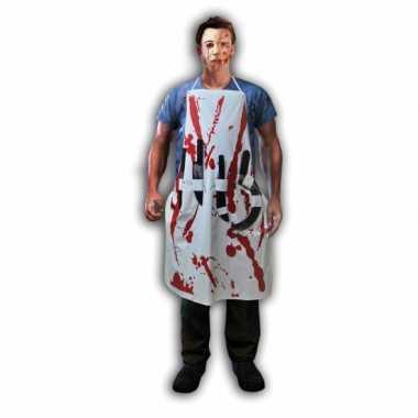 Bloederig keukenschort hakmessen