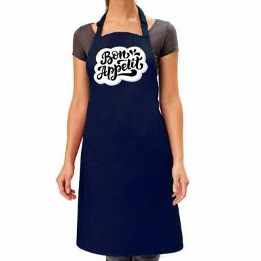Bon appetit barbecuekeukenschort / keukenschort kobalt dames