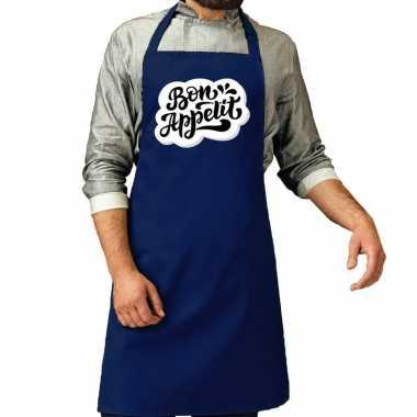Bon appetit barbecuekeukenschort / keukenschort kobalt heren