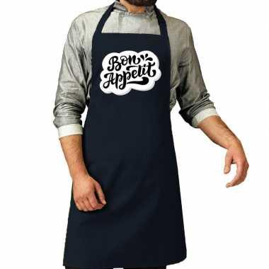 Bon appetit barbecuekeukenschort / keukenschort navy heren