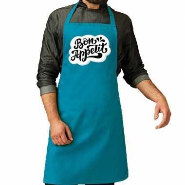 Bon appetit barbecuekeukenschort / keukenschort turquoise heren