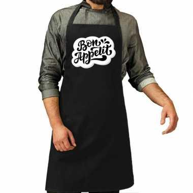 Bon appetit barbecuekeukenschort / keukenschort zwart heren