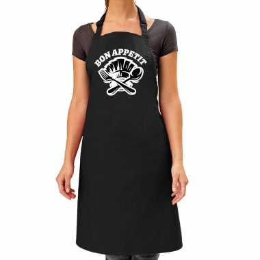 Bon appetit bbq keukenschort / keukenschort zwart dames