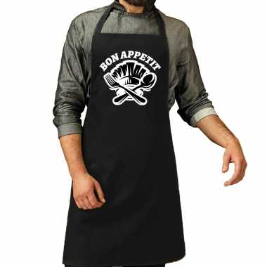 Bon appetit bbq keukenschort / keukenschort zwart heren