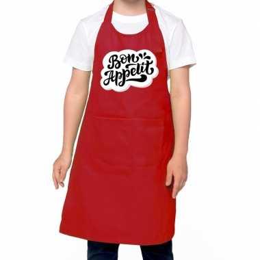 Bon appetit keukenschort rood kinderen