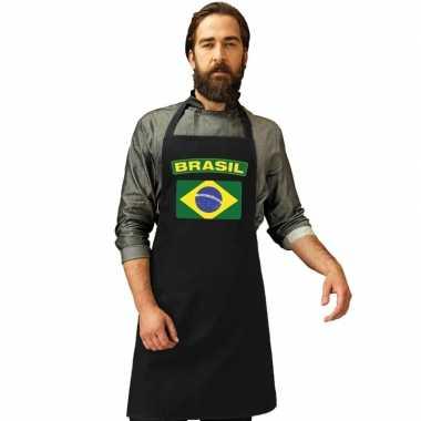Brazilie vlag barbecuekeukenschort/ keukenschort zwart volwassenen
