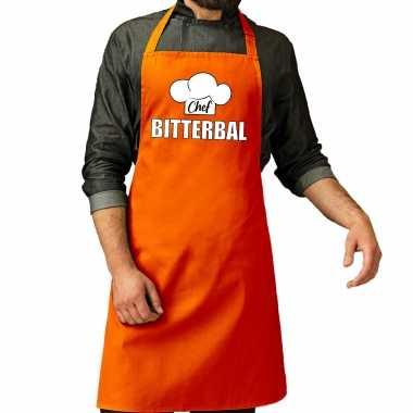 Chef bitterbal keukenschort / keukenschort oranje heren koningsdag/ nederland/ ek/ wk