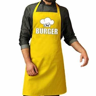 Chef burger keukenschort / keukenschort geel heren