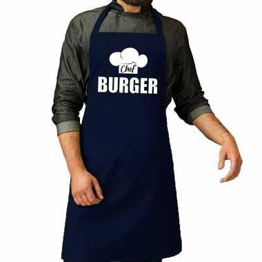 Chef burger keukenschort / keukenschort navy heren