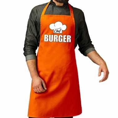 Chef burger keukenschort / keukenschort oranje heren koningsdag/ nederland/ ek/ wk