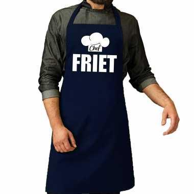 Chef friet keukenschort / keukenschort navy heren