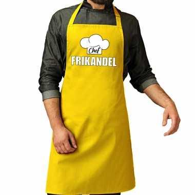 Chef frikandel keukenschort / keukenschort geel heren