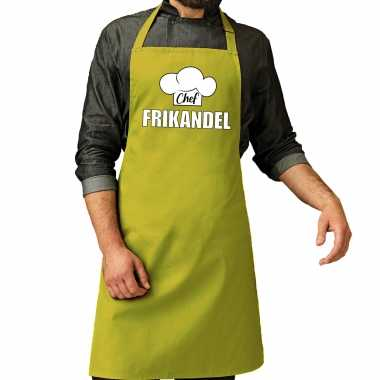 Chef frikandel keukenschort / keukenschort lime groen heren