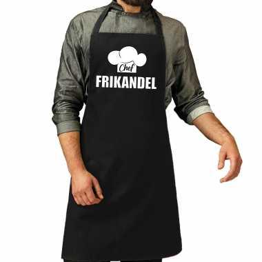Chef frikandel keukenschort / keukenschort zwart heren