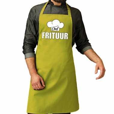 Chef frituur keukenschort / keukenschort lime groen heren
