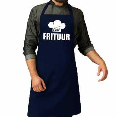 Chef frituur keukenschort / keukenschort navy heren