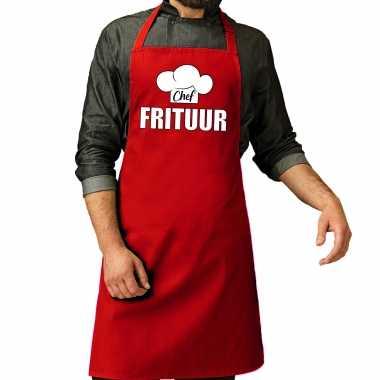 Chef frituur keukenschort / keukenschort rood heren