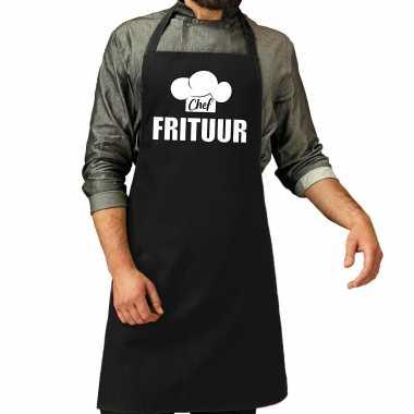 Chef frituur keukenschort / keukenschort zwart heren