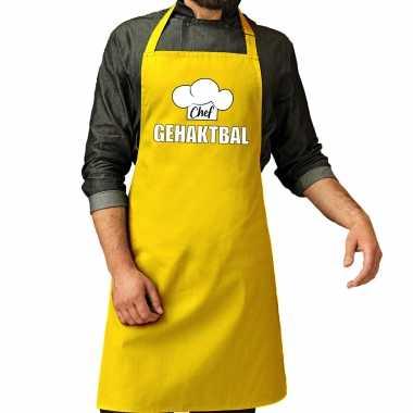 Chef gehaktbal keukenschort / keukenschort geel heren
