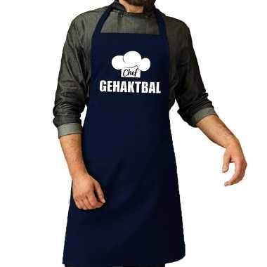 Chef gehaktbal keukenschort / keukenschort navy heren