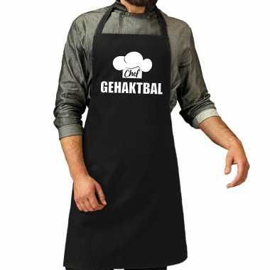 Chef gehaktbal keukenschort / keukenschort zwart heren