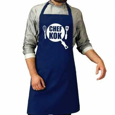 Chef kok barbeque keukenschort / keukenschort kobalt blauw her