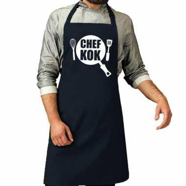 Chef kok barbeque keukenschort / keukenschort navy heren