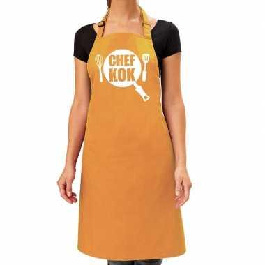 Chef kok barbeque keukenschort / keukenschort oker geel dames