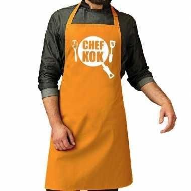 Chef kok barbeque keukenschort / keukenschort oker geel her