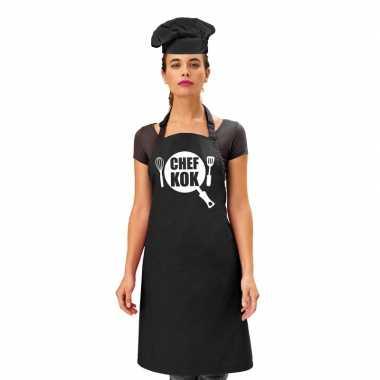 Chef kok keukenschort zwart dames zwarte koksmuts