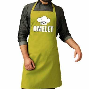 Chef omelet keukenschort / keukenschort lime groen heren