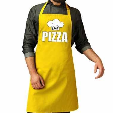 Chef pizza keukenschort / keukenschort geel heren