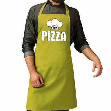 Chef pizza keukenschort / keukenschort lime groen heren