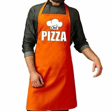 Chef pizza keukenschort / keukenschort oranje heren koningsdag/ nederland/ ek/ wk